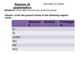 Grammar revision present, past, articles