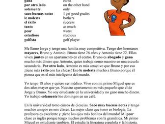 Spanish Comparatives Reading: Una familia competitiva Lectura con Comparativos
