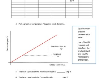 Specific Heat Capacity Worksheet - Required Practical