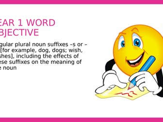 Year 1 SPAG PPT: Regular Plural Noun Suffixes s or es