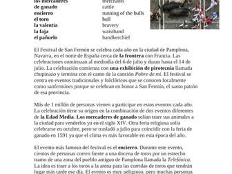 San Fermín Lectura y Cultura: Los Sanfermines - Running of Bulls (SUB Activity)
