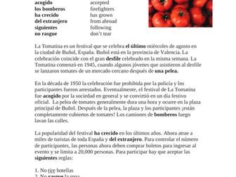 La Tomatina Festival Lectura y Cultura: Spanish Reading SUB Activity (Commands)