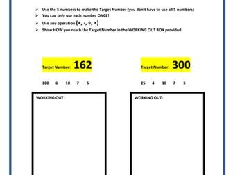 Year 4 'Target Number' Homework