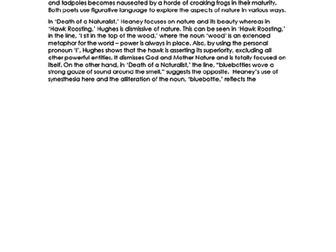 COMPARISON Essay RESPONSE - Hawk Roosting & Death of a Naturalist - 9-1 EDUQAS GCSE ENG LIT NEW SPEC