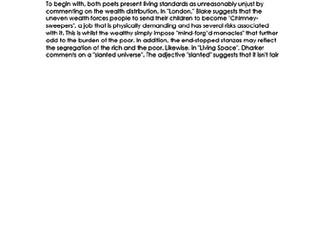 COMPARISON Essay RESPONSE - London & Living Space- 9-1 EDUQAS GCSE ENG LIT NEW SPEC