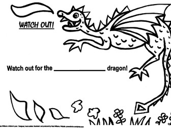 Watch Out for the Dragon! Descriptive writing sheet, 3 grades: R, Y1, Y2