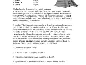Tikal Lectura y Cultura: Spanish Reading on Ancient Mayan Ruins
