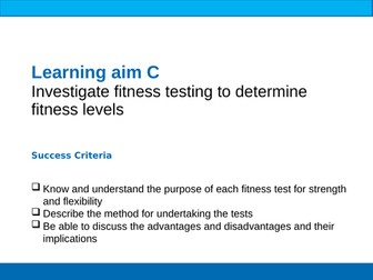 BTEC Sport Unit 1 Fitness Tests Strength & Flexibility