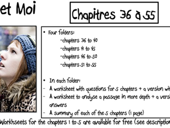No et Moi- Worksheets to study Chapters 36 to 55 and summary