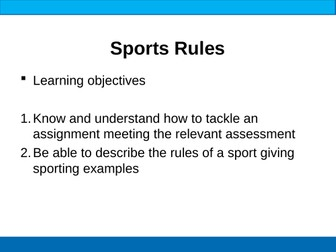 BTEC Sport Rules, Regulations & Officials