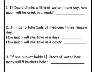 Capacity Problems - 3 Worksheets!