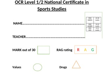 OCR National Certificate in Education R051 L02 progress test and mark scheme