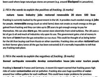gcse 1-9 geography science fracking energy social economic environmental