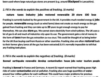 gcse 1-9 geography science fracking energy social economic environmental
