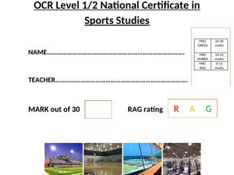 OCR Nation al Certificate in Sports Studies R051 L03 progress test and mark scheme