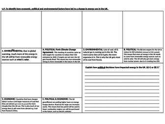changing energy political economic environmental gcse ks3 1-9 science geography