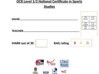 OCR National Certificate in Sports Studies R051 L04 progress test and mark scheme