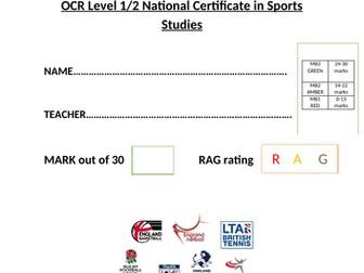 OCR National Certificate in Sports Studies R051 L04 progress test and mark scheme