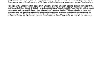 EXEMPLAR ESSAY on LANYON in 'Dr Jekyll and Mr Hyde' NEW 9-1 GCSE ENGLISH LITERATURE
