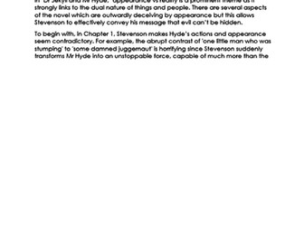 EXEMPLAR ESSAY on the theme of APPEARANCE VS REALITY  in 'Dr Jekyll & Mr Hyde' NEW 9-1 GCSE ENG LIT