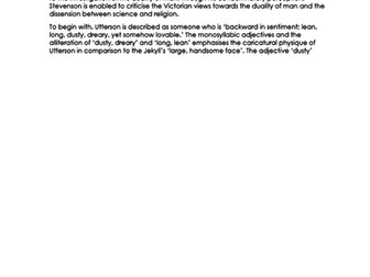 EXEMPLAR ESSAY on UTTERSON in 'Dr Jekyll and Mr Hyde' NEW 9-1 GCSE ENGLISH LITERATURE