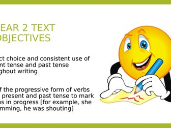 Year 2 SPAG PPT and Assessment:  Past and present tense including the progressive form