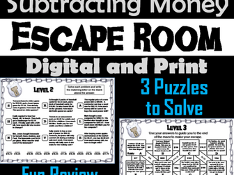 Adding and Subtracting Money Game: Escape Room Math