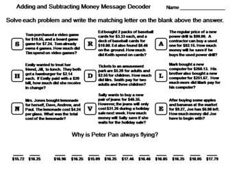 Adding and Subtracting Money Worksheet: Math Message Decoder
