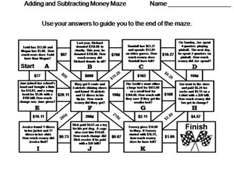 Adding and Subtracting Money: Math Maze