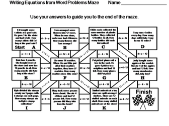 Writing Equations from Word Problems: Math Maze (One-Step Equations)
