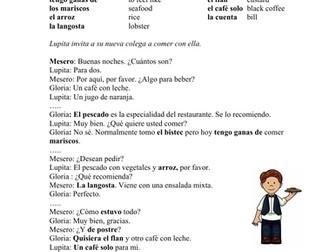En un restaurante Lectura - In a Restaurant Spanish Reading + Worksheet
