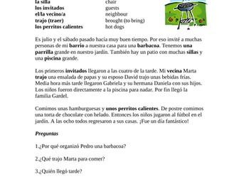 Una barbacoa de verano - Spanish Reading Summer Fun (preterite)