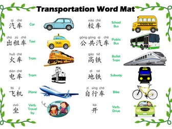 Transportation_Word Mat in Mandarin Chinese
