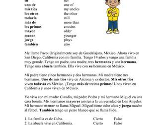 Mi familia Lectura - My Family Beginner Spanish Reading