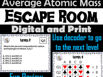Percent Composition and Average Atomic Mass: Chemistry Escape Room - Science