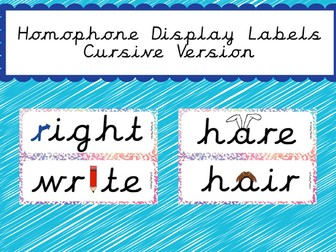 Display Homophone Display Labels (Cursive Version included)