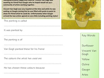 Vincent Van Gogh Sunflowers Question Sheet & Colouring Frame