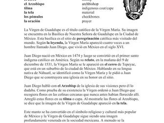 Virgen de Guadalupe Lectura y Cultura: Spanish Reading Virgin Mary & Juan Diego