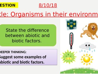AQA new specification-Organisms in their environment-B16.2