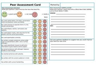Peer Assessment Card