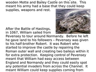 How did castles help the Normans to keep control - KS3 suitable for AQA 8145 Pevensey focus