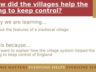 The role of the Medieval village - KS3 suitable for AQA 8145 too