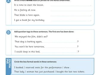 Formal and informal writing worksheet - Year 6 Spag