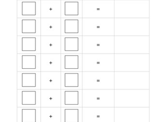 Addition to 10 - Adding Dice Worksheet (Blank) - KS1 Number