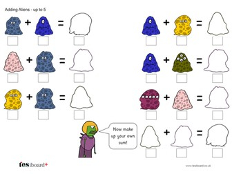 Addition to 10 - Adding Aliens: Adding up to 5 Worksheet - EYFS Number