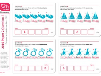 Compare and order numbers up to 1,000,000 - KS2 Maths Sats Reasoning - Practice Worksheet