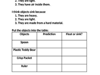 Differentiated worksheet on floating and sinking (including scientific methodology)