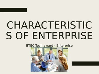 BTEC Tech Award in Enterprise