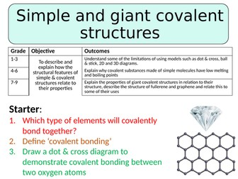 NEW AQA GCSE Trilogy (2016) Chemistry - Simple and giant covalent structures