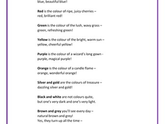 Colours - A poem about different colours to read aloud